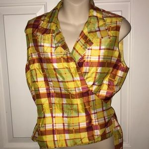 ICE Plaid Wrap Top Shirt Yellow Orange Green Red